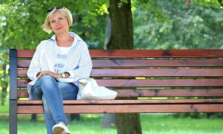 Woman on bench thinking